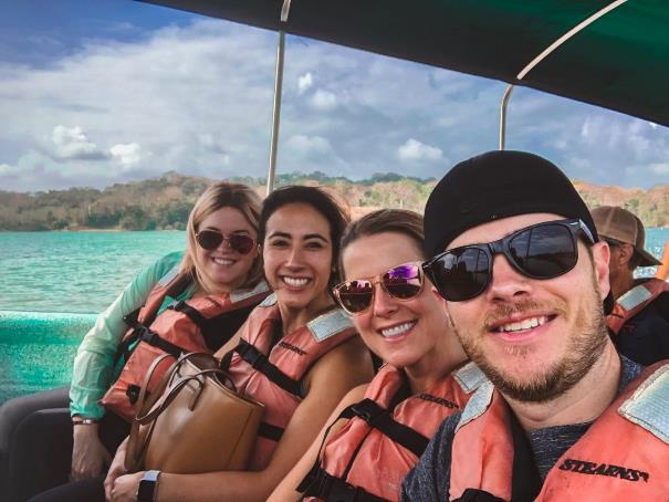 Enjoying a boat ride in Panama